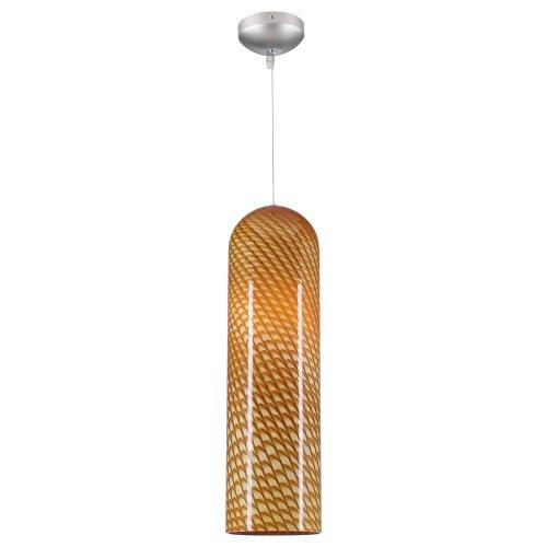 PLC Lighting 275 Amber 1 Light Sphinx Collection Mini Pendant, Satin Nickel Finish