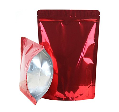 12PCS Red Stand Thicken Double-Sided Metallic Mylar Foil Self Sealing Ziplock Bag Zipper Pouch for Bakery Candle Soap Cookie Snack Tea Powder Gift Basket Supplies Xmas Gift Bag(6.3'' x 10.2'')