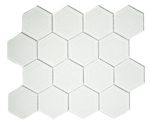 White Hexagon Beveled Glass Tile (Sample Swatch) - Hexagonal Beveled Glass