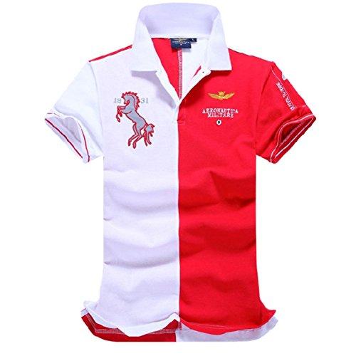 メンズ ポロシャツ 半袖 Tシャツカジュアル 紳士ポーツゴルフ シャツおしゃれ 2018人気新品3カラー (レッド, L)