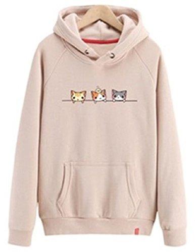 破産湿地学者[Nana_Collection(ナナコレクション)] 秋 春 女性 パーカー 猫 イラスト カジュアル フード付 ポケット付