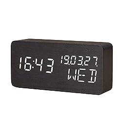 Raercodia Wooden Digital Alarm Clock Decorative Modern LED Desk Clock Display Time Date Week Temperature Sound Control Brightness Adjustable (Black,White)