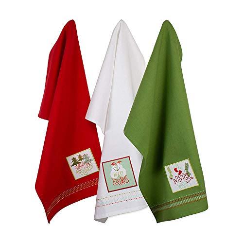 DII Christmas Dishtowel Decorative Oversized, Set of 3, Cozy Christmas