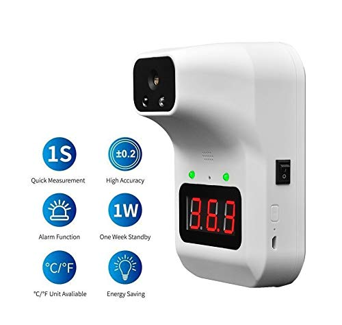 Wall-Mounted Infrared Forehead Thermometer with LCD Display Non-Contact Digital Thermometer Battery Included) Restaurants Fever Alarm for Factories Shops Rail Station Entrances School /& Office