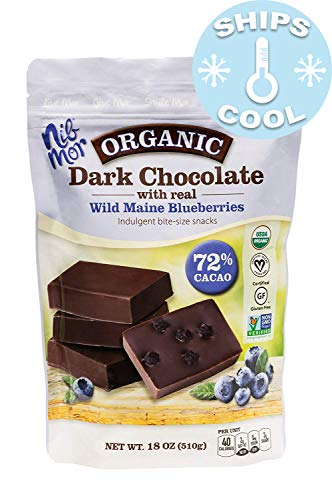 (Nib Mor Organic Dark Chocolate Pieces with 72% Cacao - Wild Maine Blueberries, 18 Ounce (1 Pack) )