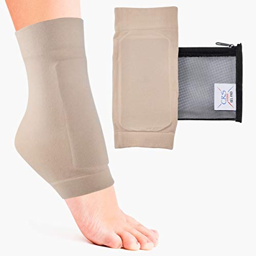 CRS Cross Lace Bite Pads - Padded Skate Sock for Protection of Front of Foot & Shin. Elastic Sleeve with Gel for Skate Bite in Figure Skating, Ice Hockey, Inline, Roller, Ski (One Size fits Most) (Figure Skating Roller)
