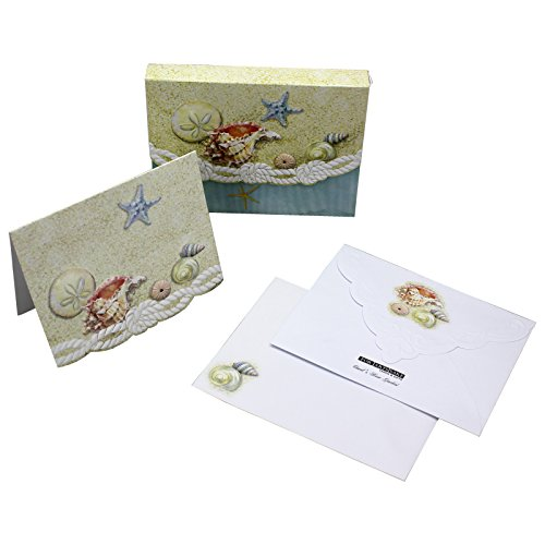 Mini Embossed Portfolio (Sea Shells Starfish Sand Dollars Embossed Set of 8 Blank Note Cards, Envelopes, and Mini Portfolio Pouch, Designed by Carol Wilson (One (1) Set))