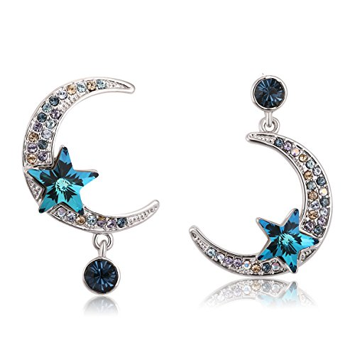 Crystal Dangle Earrings Moon and Star Asymmetric Drop Earrings for Women Richapex (Crescent)