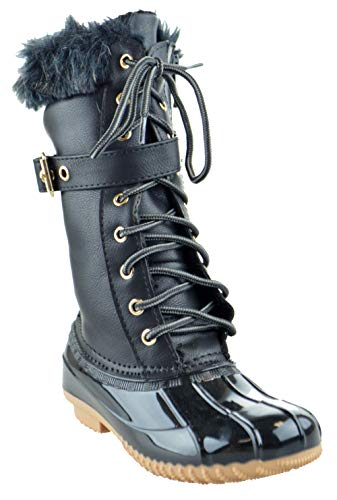 Link Duck 10K Little Girls Knee High Rain Lace Up Fur Trendy Rubber Duck Boots Black ()