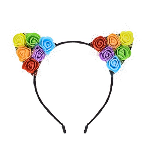 Price comparison product image Floral Fall Festival Sunflower Rainbow Rose Flower Cat Ear Headbands Girls Party DaisyHeadpieces HC-16 (Rose Ear)