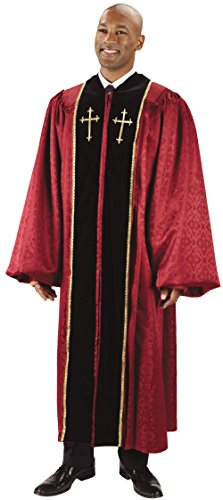 (Burgundy Jacquard Pulpit Robe with Embroidered Gold Crosses (59 XL 6' - 6'2