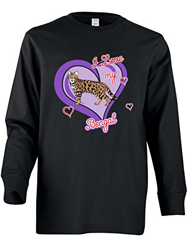 Tenacitee Girl's Youth Bengal Cat Long Sleeve T-Shirt, Large, White