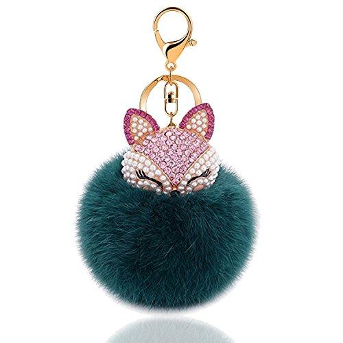 - Rabbit Ball Keychain With Rhinestone Fox Head Keyring Charm Pendants Decorative Bag Key Holder (Green)