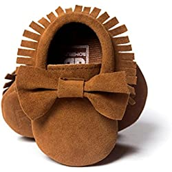Voberry Baby Boys Girls Tassel Bow Soft Sole PU Leather Loafers Moccasin Sneakers (3~6 Month, Coffee)