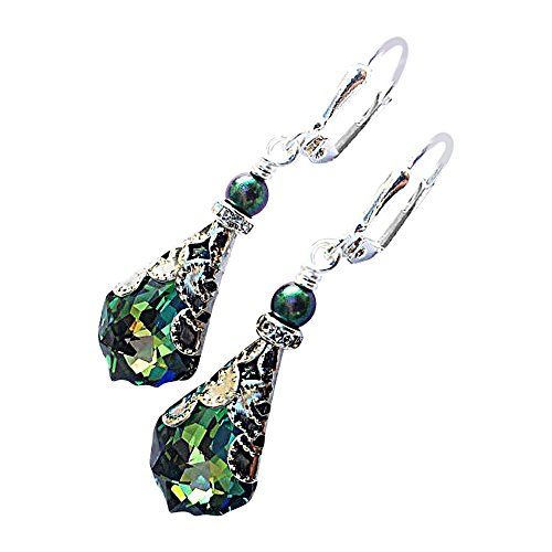 HisJewelsCreations Baroque Crystal Vintage Inspired Leverback Drop Earrings (Green)