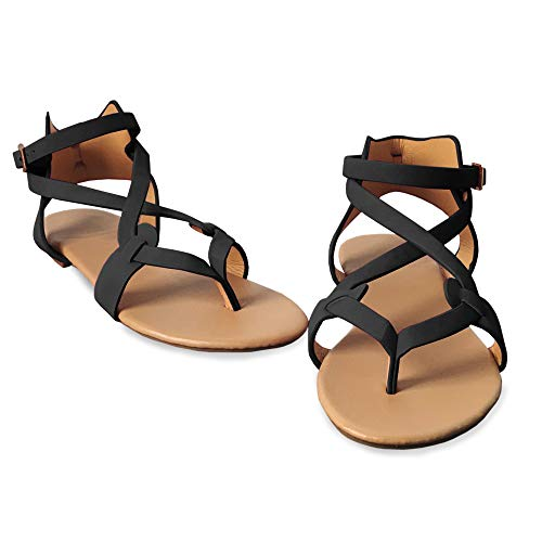 Womens Gladiator Strappy Flat Open Toe Lace Up Criss Cross Strap Ankle Wrap Summer Beach Thongs Sandals (4 M US, D Black) ()