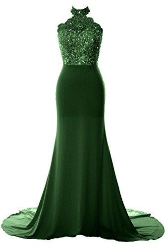 MACloth Women Mermaid Halter Lace Jersey Long Prom Dress Formal ...