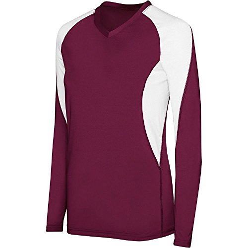 High Five Girls Long Sleeve Court Jersey,Maroon/White,Large
