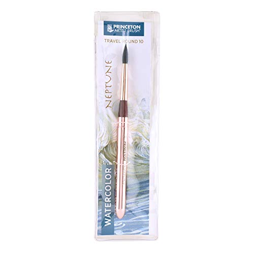 (Princeton Neptune Travel Artist Brush, Series 4750 Synthetic Squirrel for Watercolor, Round, Size 10)