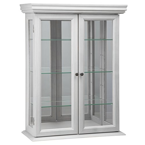 (Design Toscano Country Tuscan Hardwood Wall Curio Cabinet: Lily White Finish )