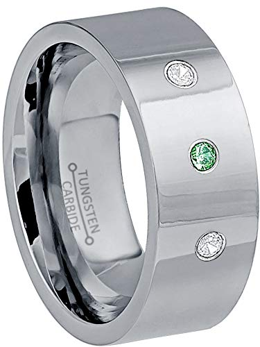 (0.21ctw Emerald & Diamond 3-Stone Anniversary Band - May Birthstone Ring - 9mm Comfort Fit Pipe Cut Tungsten Carbide Ring Tungsten Wedding)