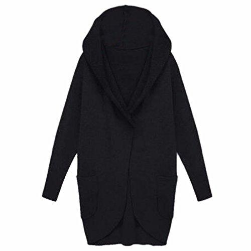 Bolsillo La Abrigo Manga De Qiyun Muchachas Las Prendas Vestir nbsp;mujer Capucha Larga Con Negro Al z Aire Libre Invierno El 48SUq