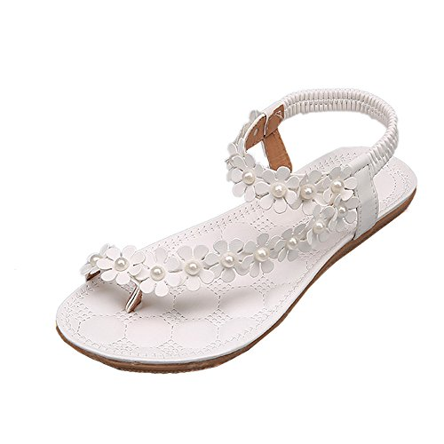 (Women's Sweet Summer Bohemia Beaded Sandals Clip Toe Flip-Flop St.Dona Summer Casual Round Toe Flower Thong Sandals Shoes White)