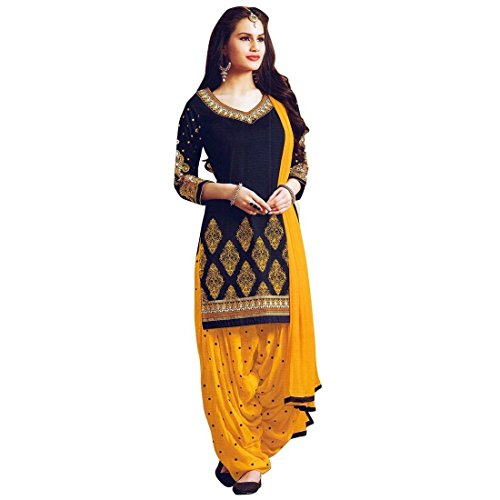 Ready Made Patiala Salwar Embroidered Cotton Salwar Kameez Suit - In India Women