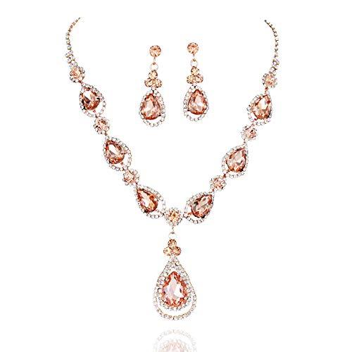 SP Sophia Collection Women's Elegant Crystal Teardrop Statement Necklace Dangle Earring Set in Rose ()