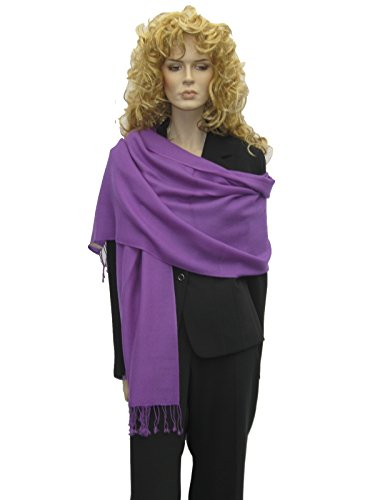 Pashmina Shawl, Scarf, Wrap, Stole From Cashmere Pashmina Group in Vivid 55 Colors (Amethyst)