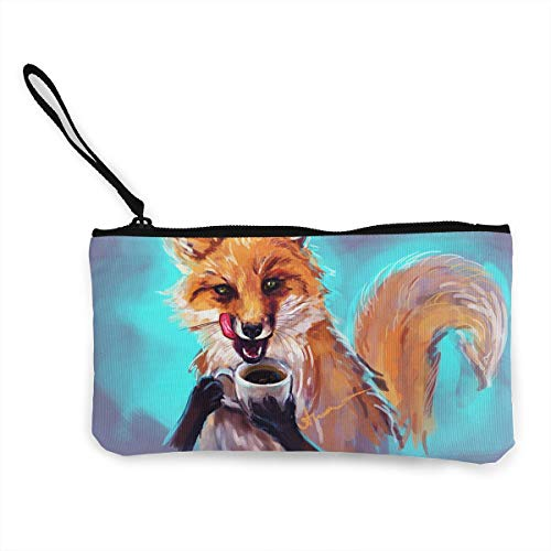 Oomato Canvas Coin Purse Fox and Coffee Cosmetic Makeup Storage Wallet Clutch Purse Pencil Bag