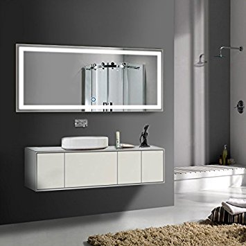 70 x 32 In Horizontal LED Bathroom Silvered Mirror with Touch Button -