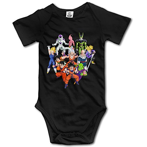 Ogbcom Baby's Dragon Ball Z Hanging Bodysuit Romper Playsuit Outfits Clothes Climbing Clothes Short Sleeve Black ()