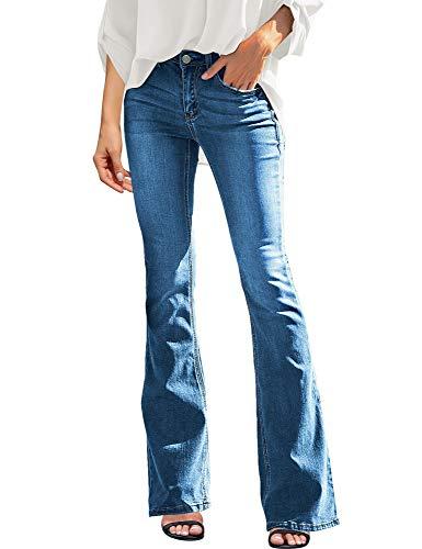 LookbookStore Womens Ripped Bell Bottom Raw Hem Denim Pants Wide Leg Flare Jeans Light Blue Size X-Large