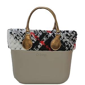 OBAG Borsa o bag mini roccia con bordo lana multicolor manico corto bronzo 15