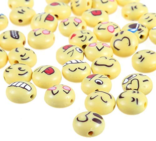 Emoji Assorted Round Beads 12mm 100Pcs Charm Printed Pattern Polymer Clay Handmade Loose Beads for Jewelry Making