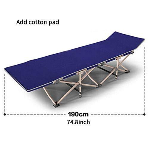 Lounge Cama Plegable Sun Single Cama Simple Siesta Bed Garden Cama de Playa Cama acompanante Office Portable Blue + Cotton Pad 1