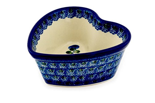 - Polish Pottery Heart Shaped Bowl 4-inch Blue Poppies