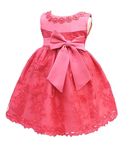 - HX Baby Girl's Newborn Bowknot Gauze Christening Baptism Dress Infant Flower Girls Wedding Dresses 13 Color (18M/13-18 Months, Watermelon Red)