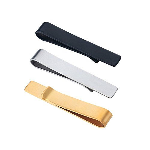 SHUYUE 3 Pc Set 1.9 Inch Skinny Tie Bar Clip - (Three Button Tie)