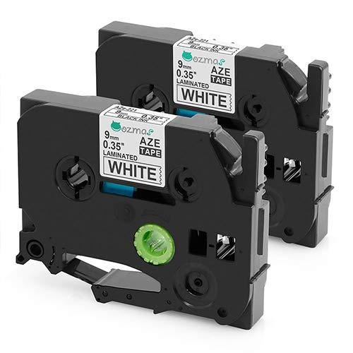 2-pack Nastro Compatible per Brother TZe Tape TZe-221 Cartucce per Brother PT-H100LB PT-H100R PT-1005 PT-1010 PT-1830VP PT-2030 Nero su Bianco 9mm x 8m