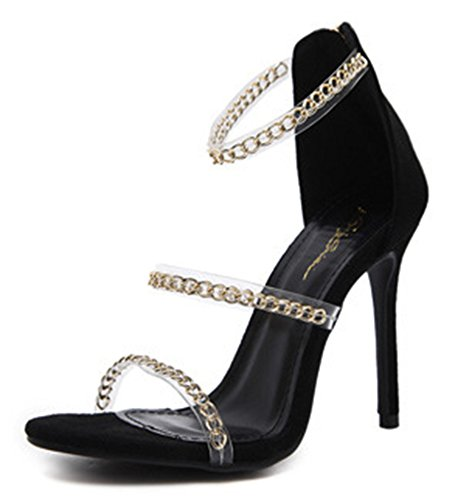 Aisun Metallic Knöchelriemchen Schwarz Offene Kette Zehen Sandale Spangen Damen Transparent A6wqa5xrA