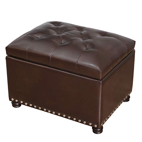 DecentHome Tufted Leather Rectangular Storage Bench Ottoman Footstool, Dark Brown
