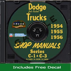 1954 1955 1956 Dodge Truck Shop Service Repair Manual CD (with Decal) PDF