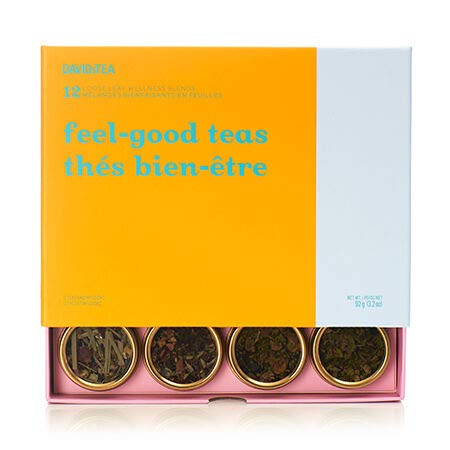 DAVIDsTEA Feel-Good Teas 12 Tea Sampler, Loose Leaf Tea Gift Set, Assortment of 12 Wellness Teas and Infusions, 92 Grams