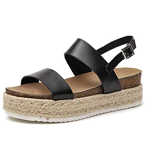 XFASY Espadrille Platform Sandals Open Toe Ankle Adjustable Strap Slingback for Women (Black,7.5 M US)
