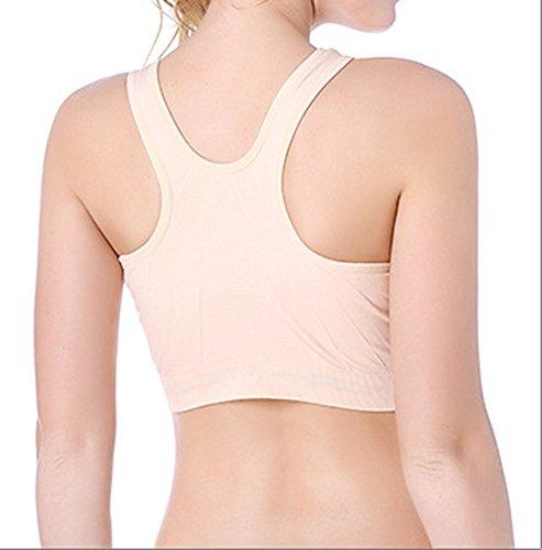 Cliont Mujeres Sports Bra alto impacto Front Zip Fitness Workout Yoga corriendo bra Beige