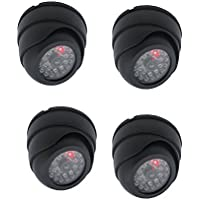 Henxlco 4 Pack Dome Dummy Fake Infrared IR CCTV Surveillance Security Cameras Imitation Simulated Blinking LED CCTV Surveillance
