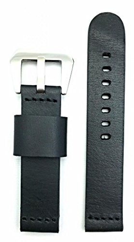 20mm Black, Panerai Style, Smooth Leather Watch Band
