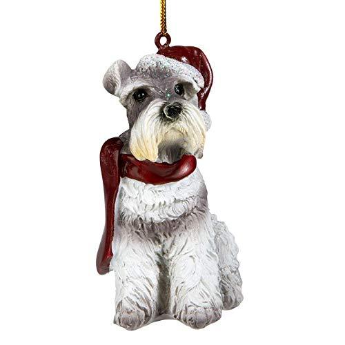 Design Toscano Christmas Xmas Miniature Schnauzer Holiday Dog Ornaments, Full Color (Ornament Schnauzer Christmas)